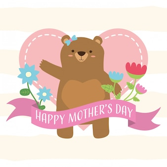 Happy mothers day cute bears mom mothers day decoration illustration