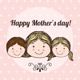 Happy mothers day over dotted  background