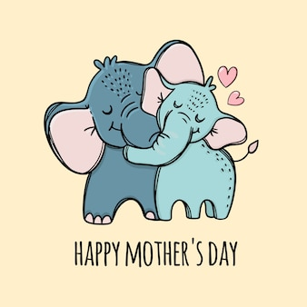 Happy mothers day. elephant hugs her son. hand drawn illustration.