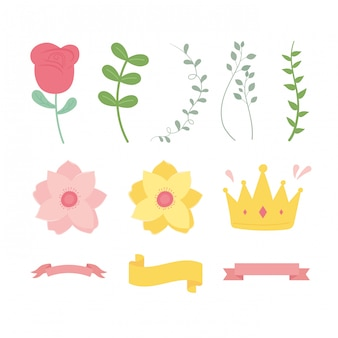 Happy mothers day, flower branch leaves ribbon and crown icons