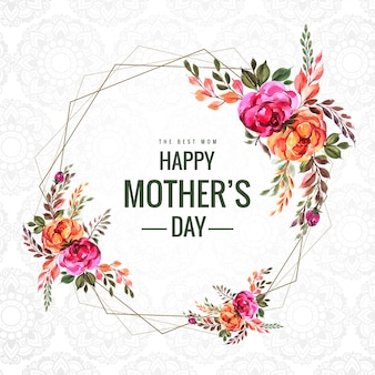 Happy mothers day flower frame card background