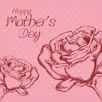 Happy mothers day flower roses polka dot