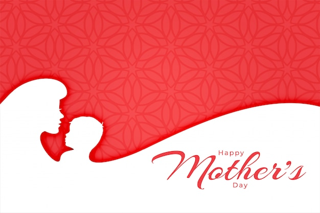 Happy mothers day greeting banner with mom and son silhouettes