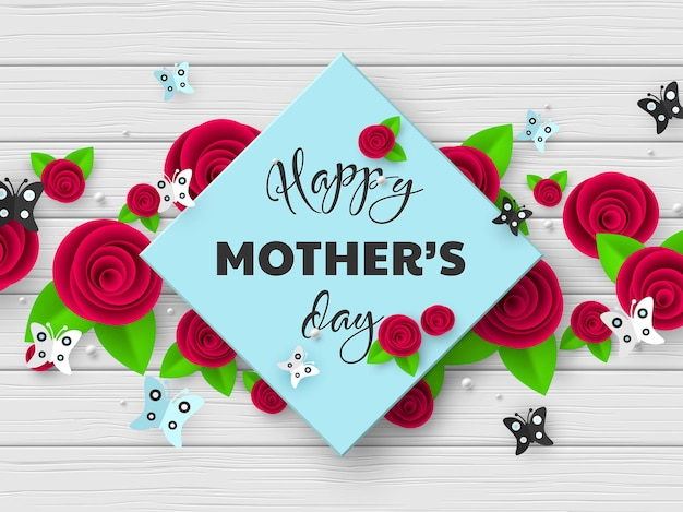Happy mothers day greeting card. 3d paper cut flowers with butterfly and frame