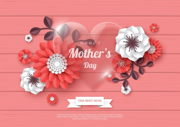 幸せな母の日のグリーティングカード。ガラスの透明なハートと3d切り花
