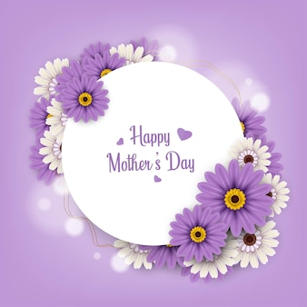 Happy mothers day greeting card design on purple