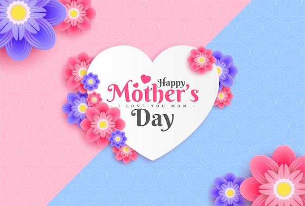 Дизайн поздравительной открытки с днем матери с цветком и типографским письмом на розовом фоне