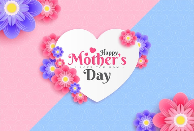 Happy mothers day greeting card design with flower and typography letter on pink background