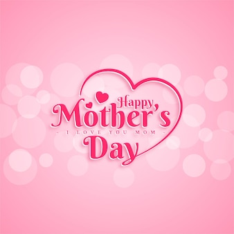 Happy mothers day greeting card design with typography letter on pink background