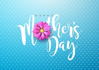 Happy Mothers Day Greeting card illustration
