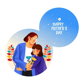 Happy mothers day greeting card mother hugging her daughter