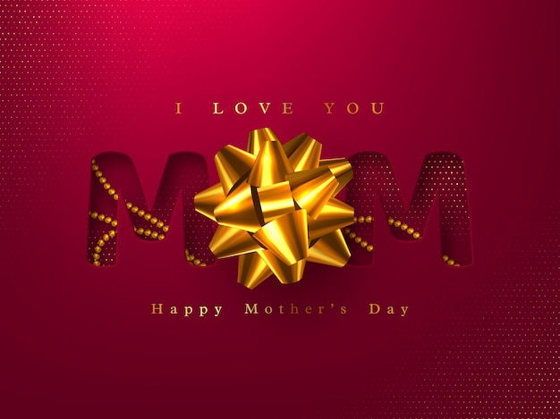 Happy mothers day greeting card. paper cut typographic design with 3d realistic beads and glossy bow. red halftone effect. illustration.