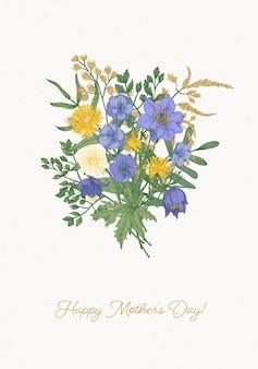 美しい花束と幸せな母の日グリーティングカード
