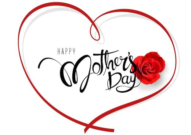 書道のテキストと赤いバラとリボンから形成されたハートの幸せな母の日グリーティングカード