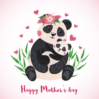 Happy mothers day greeting card with cute panda with baby in hand drawn style.