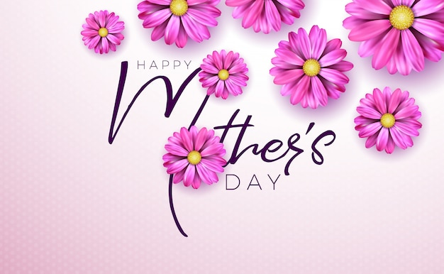 Happy mothers day greeting card with flower and typography on pink