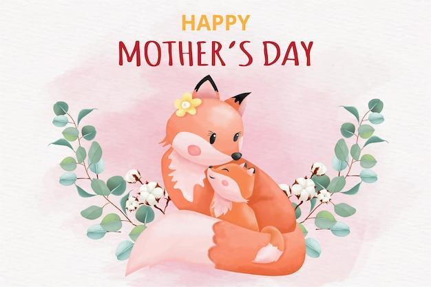 Поздравительная открытка с днем матери с лисами