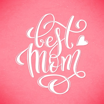 Happy mothers day greeting card with hand-drawn lettering.