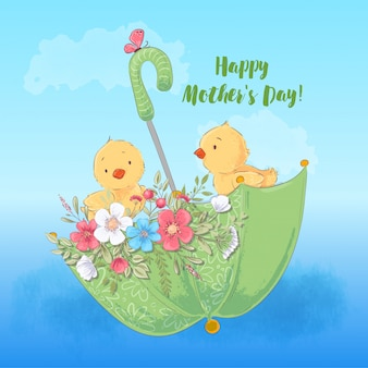 Happy mothers day greeting card with illustration of cute chickens in an umbrella with flowers