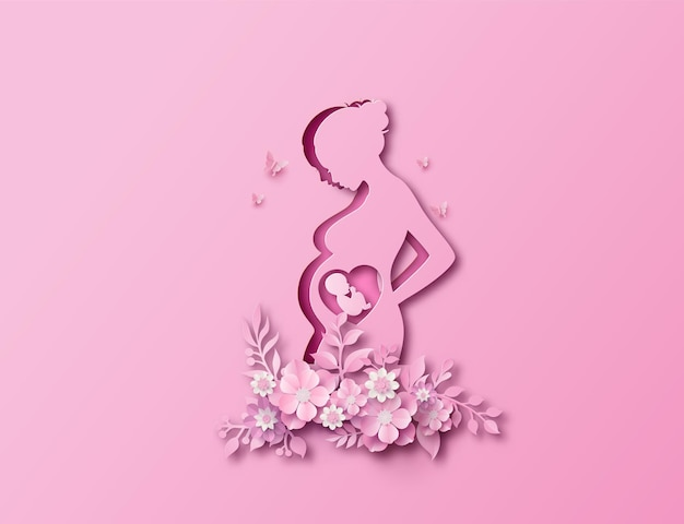 Поздравительная открытка с днем матери с мамой и ребенком. вырезка из бумаги
