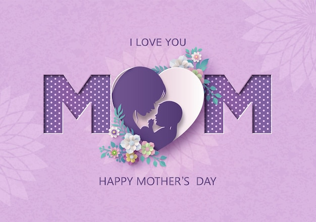 Happy mothers day greeting card with mom and baby.paper cut