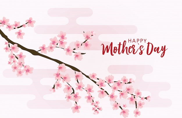 Happy mothers day greeting card with sakura flowers