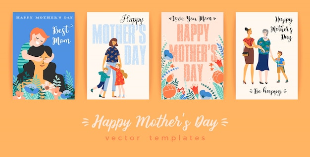 Happy mothers day. greeting card with women and children.