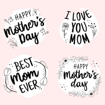 Happy mothers day hand drawn lettering badge collection