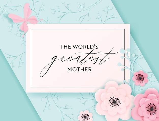 Счастливый день матери праздник баннер. поздравительная открытка ко дню матери здравствуйте! весенний дизайн вырезки из бумаги с цветами и открыткой для бабочек. векторная иллюстрация