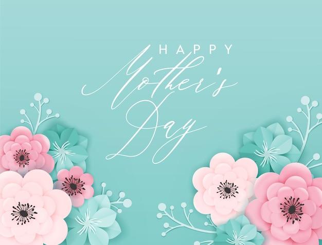 Счастливый день матери праздник баннер. поздравительная открытка ко дню матери здравствуйте! весенний дизайн вырезки из бумаги с цветами и цветочными элементами. векторная иллюстрация