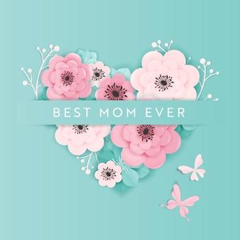 Счастливый день матери праздник баннер. поздравительная открытка ко дню матери здравствуйте! весенний дизайн вырезки из бумаги с цветами и плакатом в стиле сердца. векторная иллюстрация
