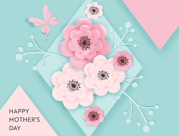 Happy mothers day holiday banner. mother day greeting card hello spring paper cut design with flowers and butterfly typography postcard. vector illustration
