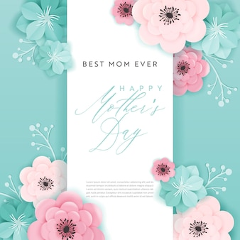 Happy mothers day holiday banner. mother day greeting card hello spring paper cut design with flowers and floral elements typography poster. vector illustration