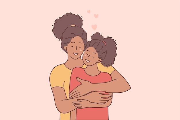 幸せな母の日の休日のお祝い、母と娘の概念の間の愛。
