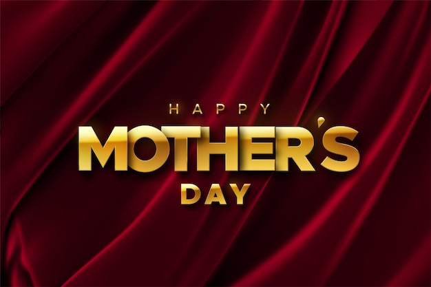 Happy mothers day.   holiday illustration of golden label on red velvet fabric background. realistic 3d banner. i love you mom.