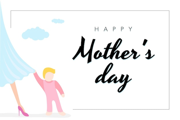 Happy mothers day holiday poster little baby clings to moms dress white background with