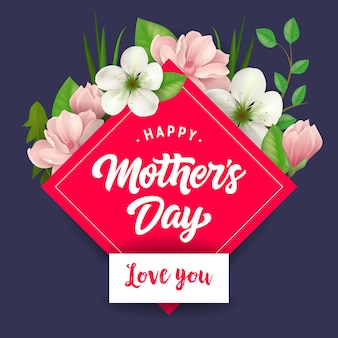 Happy mothers day i love you lettering. mothers day greeting card.