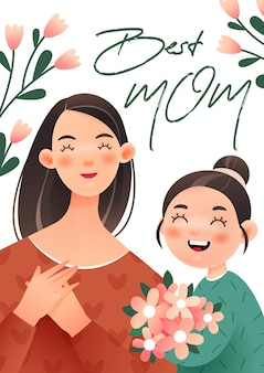 Happy mothers day illustration of girl giving her mother a bouquet of flowers