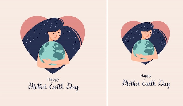 Happy mothers day illustration with mother and daughter