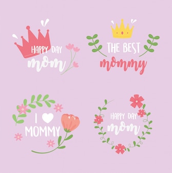Happy mothers day, inscriptions card flowers crown heart decoration design