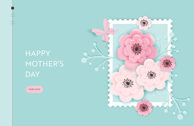 Шаблон целевой страницы с днем матери. праздничный веб-баннер ко дню матери с вырезанными из бумаги цветами для флаера, брошюры, веб-сайта весенняя распродажа. векторная иллюстрация