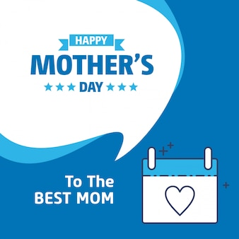 Happy mothers day lettering blue background