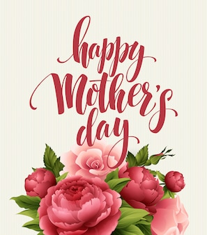 Happy mothers day lettering card. greetimng card with flower.