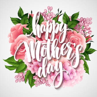 Happy mothers day lettering card. carta di greetimng con fiore.