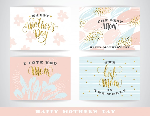 Happy mothers day lettering greeting cards with flowers