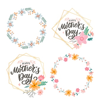 Happy mothers day lettering. handmade calligraphy  . mother's day card with flowers