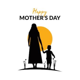Happy mothers day logo illustration