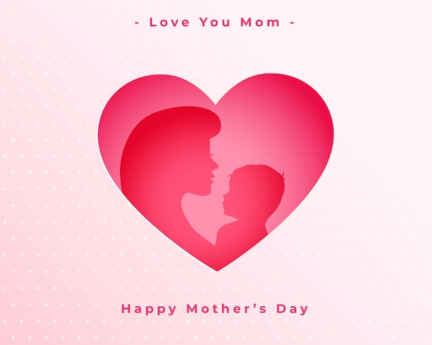 Felice festa della mamma amore cuore mamma e bambino sfondo
