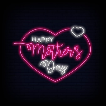 Happy mothers day neon sign vector illustration