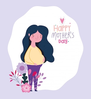 Happy mothers day, pregnant woman flowers cartoon